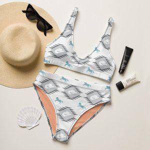 Western Rodeo Print High-Waisted Bikini